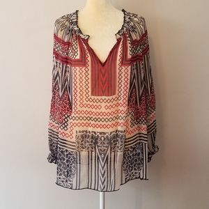 Lucky brand sheer printed tunic blouse size large